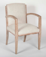 A Pair of French Cerused Arm Chairs With Belgian Linen