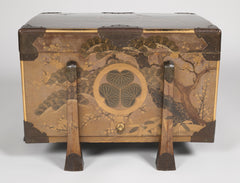 Japanese Gilt and Lacquered Karabitsu (Trunk) with Lotus Leaf Mon