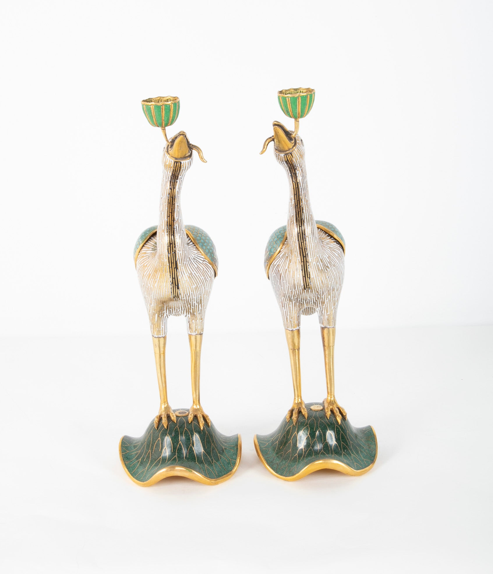 Pair of Cloisonne Incense Burners in the form of Cranes