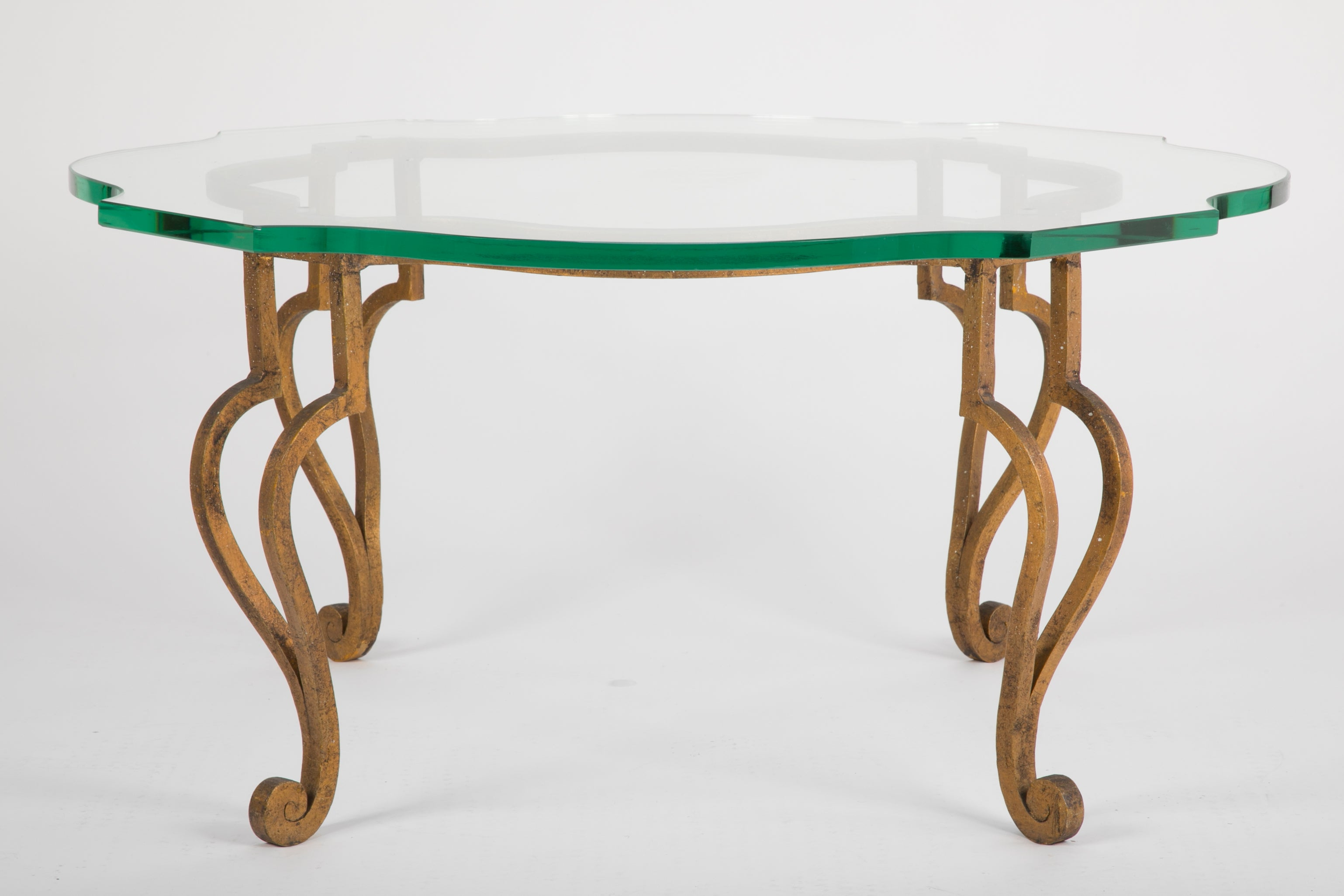 Glass Top Gilt Brass Coffee Table by Maison Ramsay