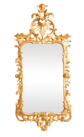 English George III Gilded & Carved Rococo Mirror with Original Plate