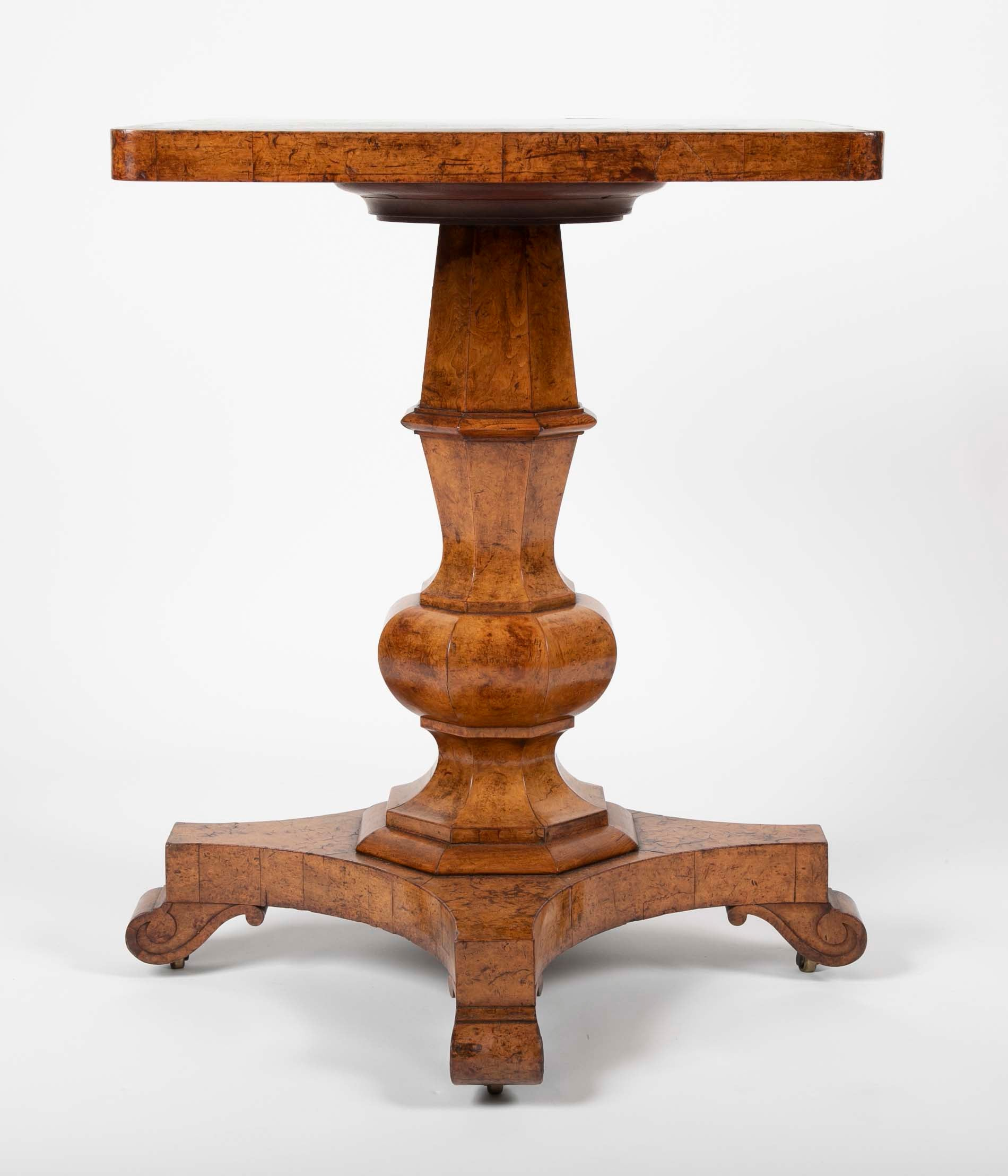 A George IV Burr Elm and Ash Side Table with Scagliola Top