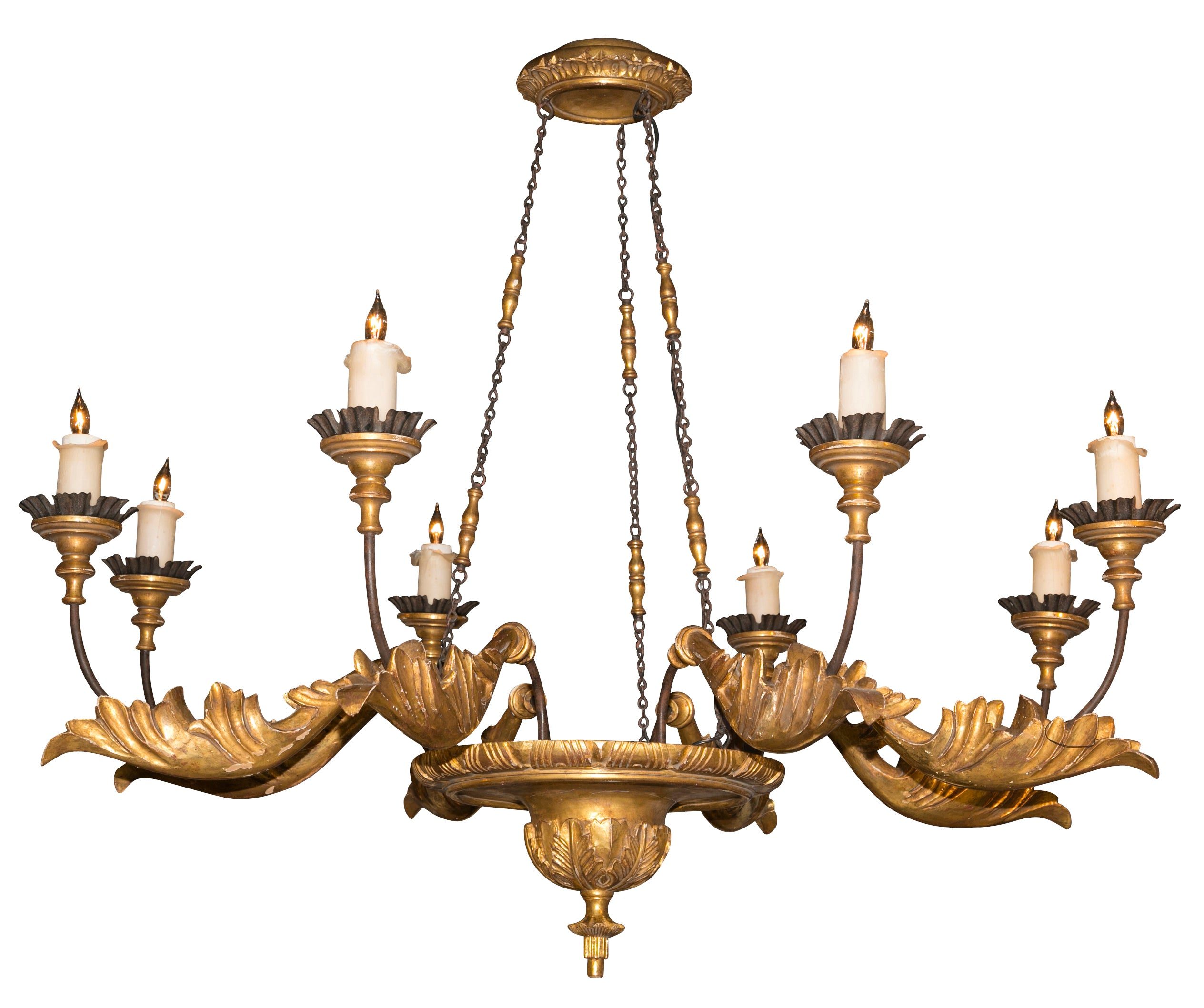 Gilt metal continental chandelier with acanthus leaf decoration gilt metal continental chandelier with acanthus leaf decoration aloadofball Choice Image