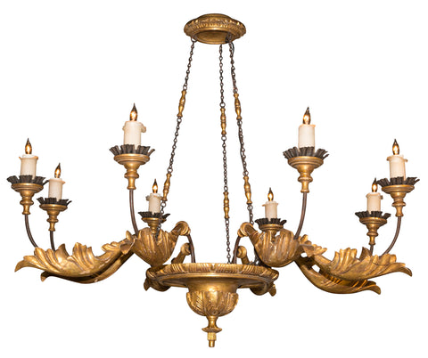 Gilt & Metal Continental Chandelier with Acanthus Leaf Decoration