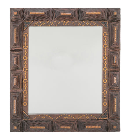 Tramp Art Frame with Mirror