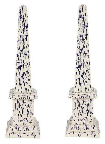 Pair of Blue and White Ceramic Obelisks
