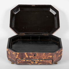 A Chinese Export Faux Tortoise Shell Sewing Box