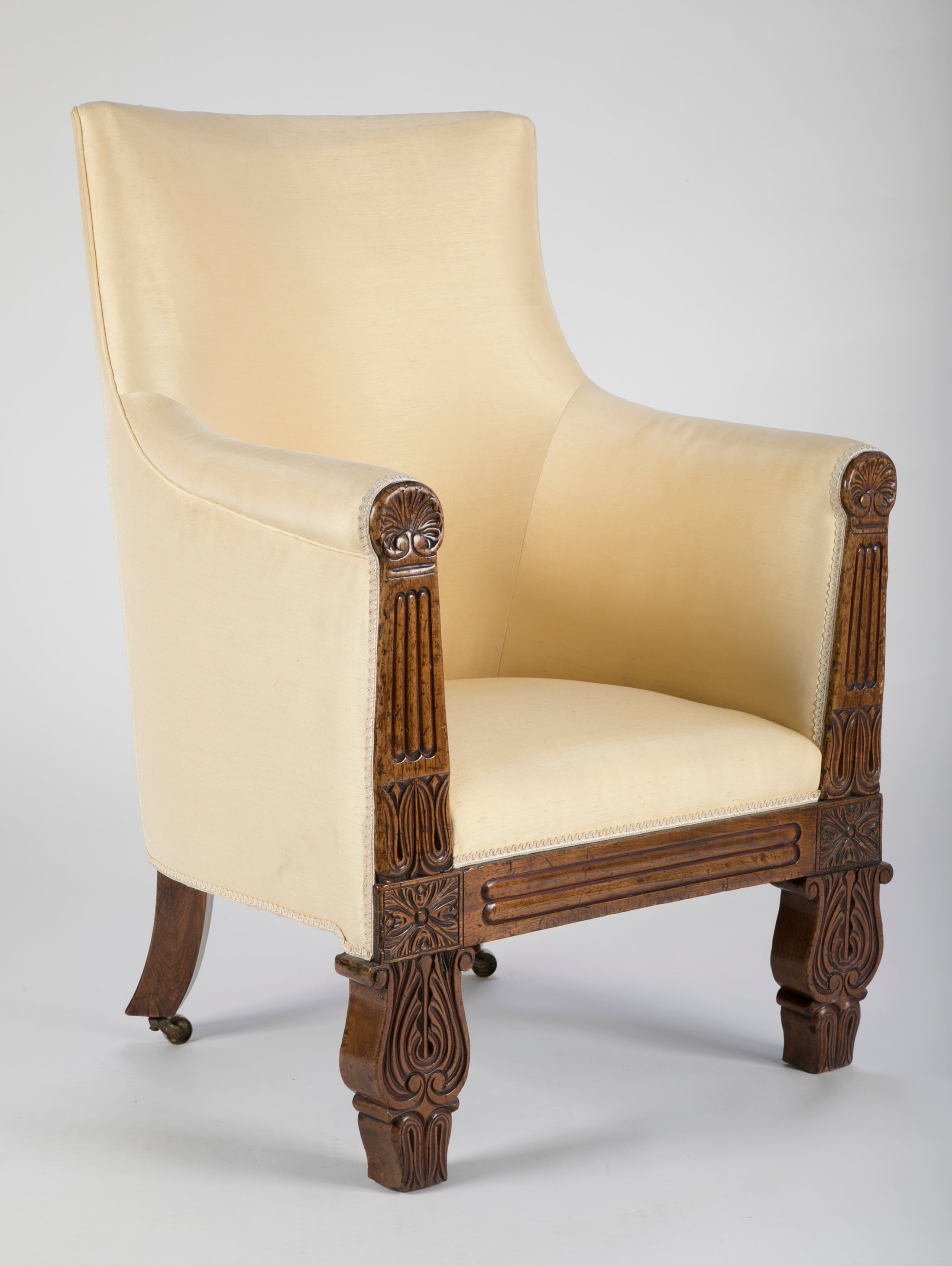 Irish Regency Carved Walnut Armchair