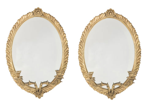 Regency Period Pair of Carved & Gilt Mirrored Sconces