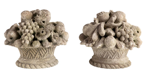 Pair of Continental Carved Limestone Garden Statuary of Fruit Baskets