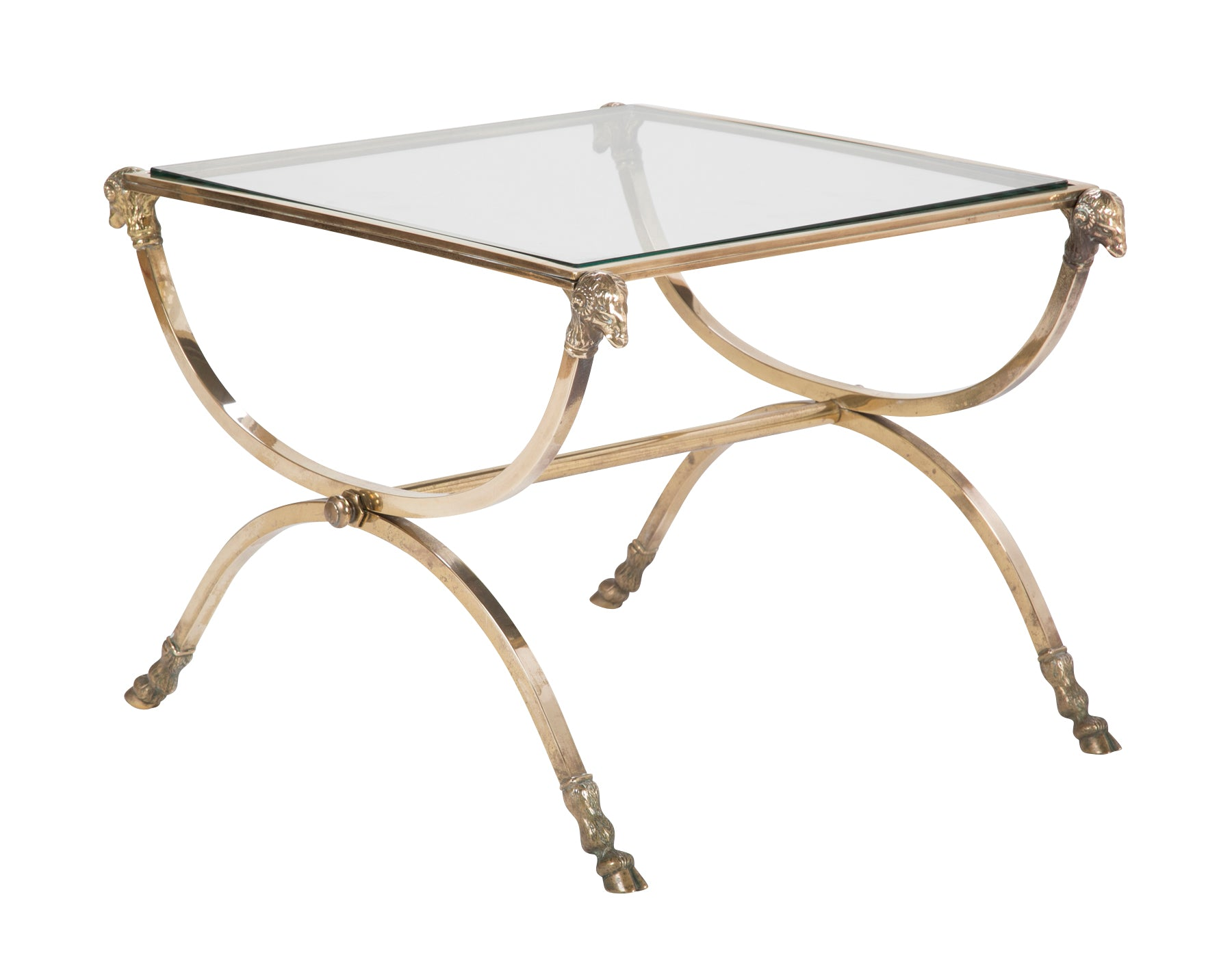 Italian Glass Coffee Table.Italian Neoclassical Style Bronze Glass Side Table