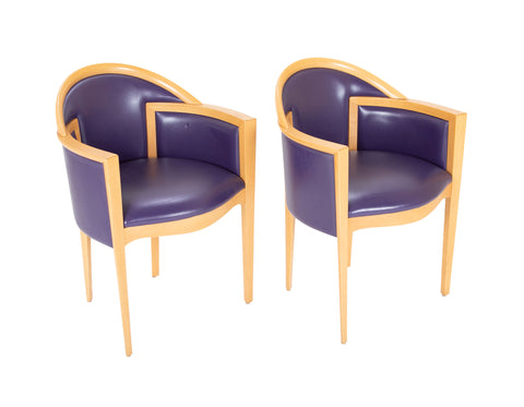Pair of Italian Purple Leather Beechwood Chairs