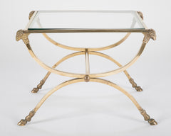 Italian Neoclassical Style Bronze & Glass Side Table