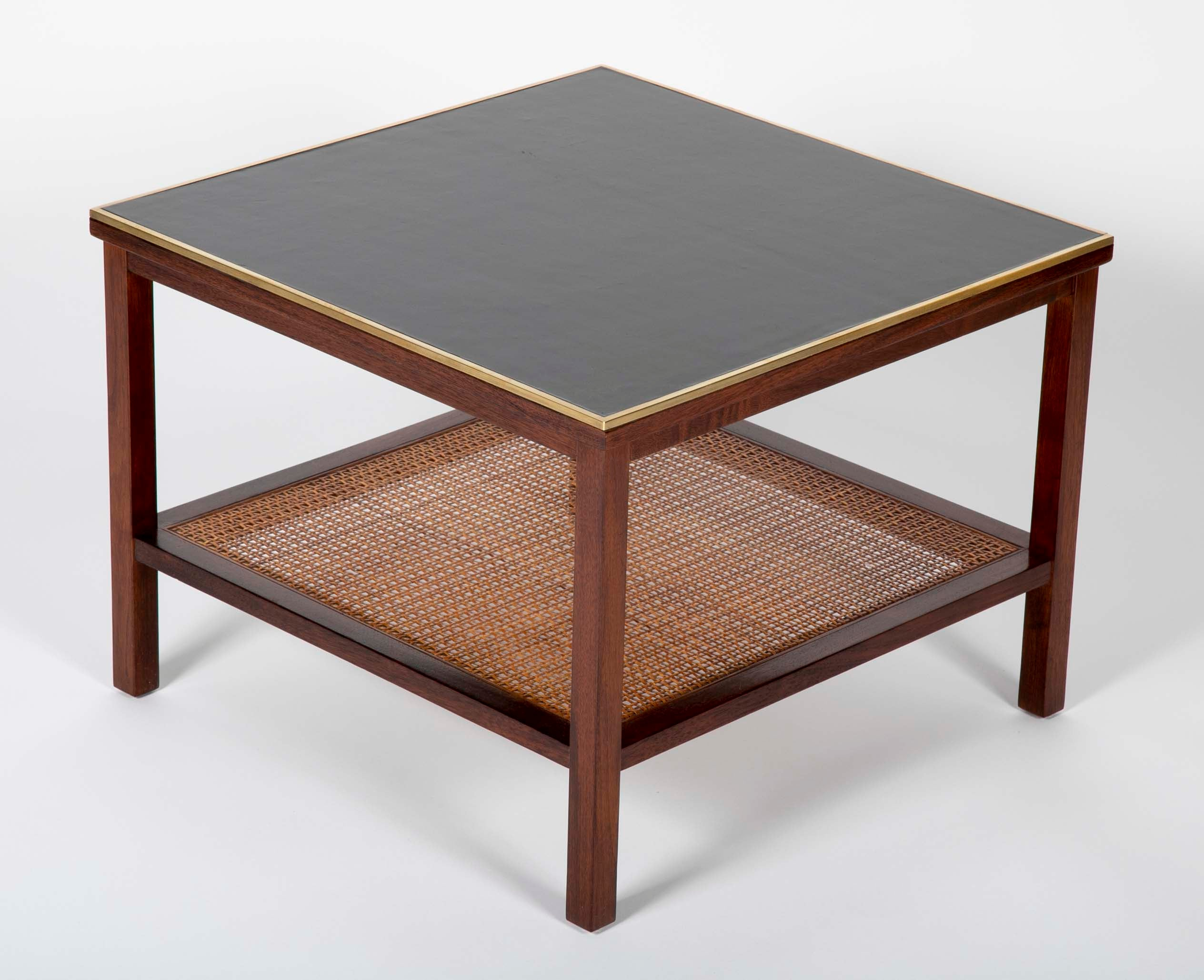 Pair of Walnut Paul McCobb Side Tables with Brass, Leather and Cane