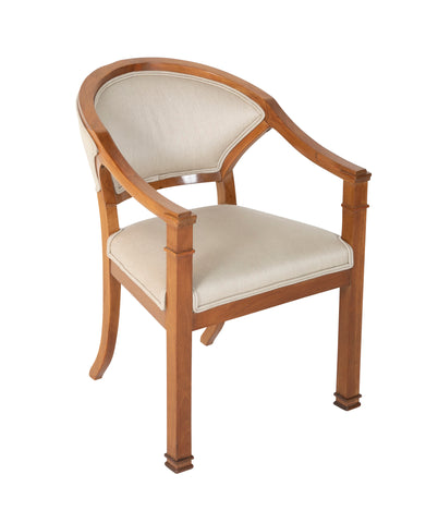 A Biedermeier Armchair having Upholstered Back and Seat and Squared Front Legs