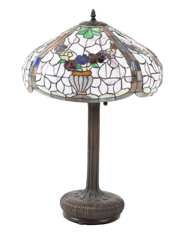Tiffany Style Leaded Lamp with Bronze Base