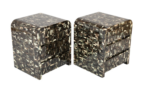 Pair of Enrique Garcel Signed End Tables of Tessellated Horn