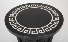 Black Round Table with Tessellated Marble