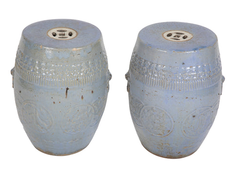 Pair of Chinese Lavender Garden Seats