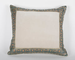 Identical Pair of Light Taupe Velvet Pillows with Antique Trim