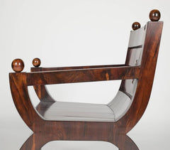 19th Century Olivewood Curule Form Armchair