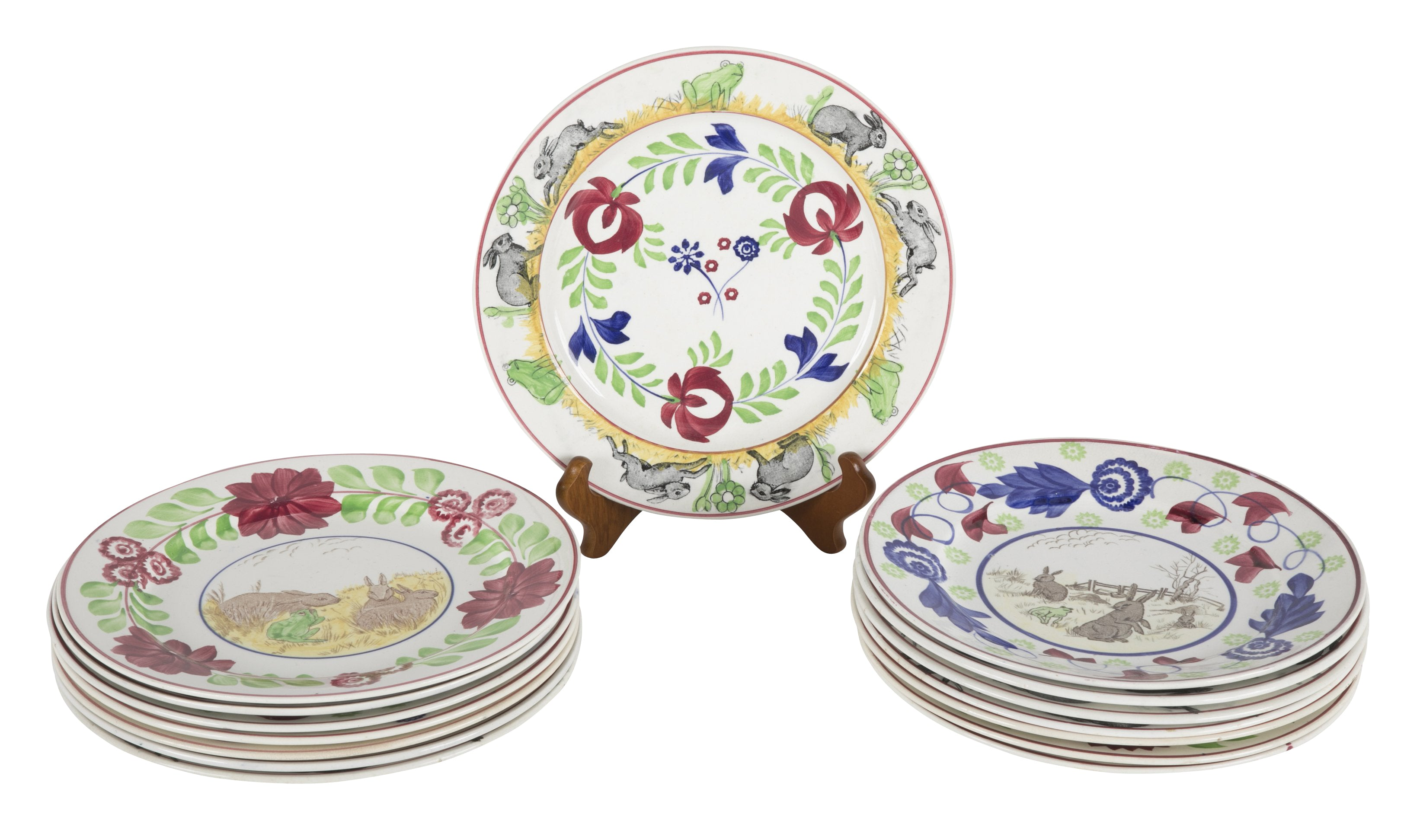 "English ""Rabbitware"" Plates with Various Scenes & Patterns"
