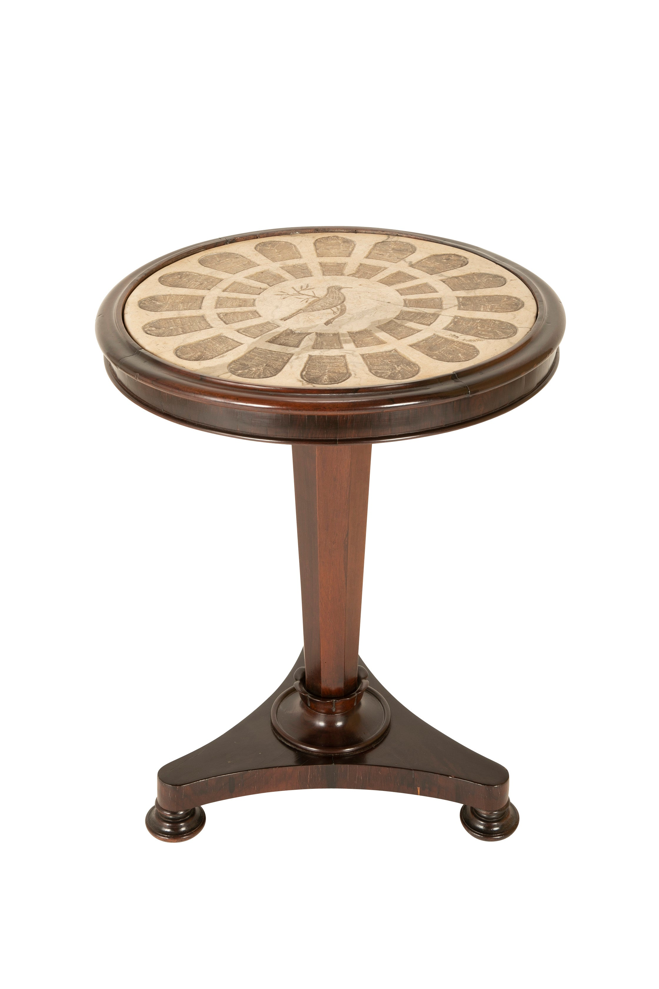 An English Rosewood Side Table with Banded Carved Marble Insert Top
