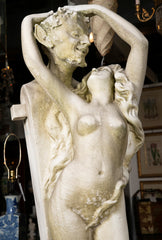 Carved Carrara Marble Statue of a Satyr & Maiden