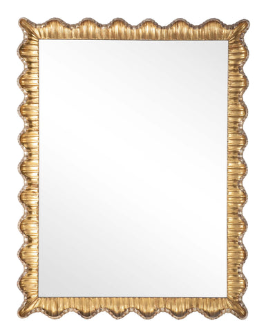 Italian Mirror with Fluted & Scalloped Gilt Frame