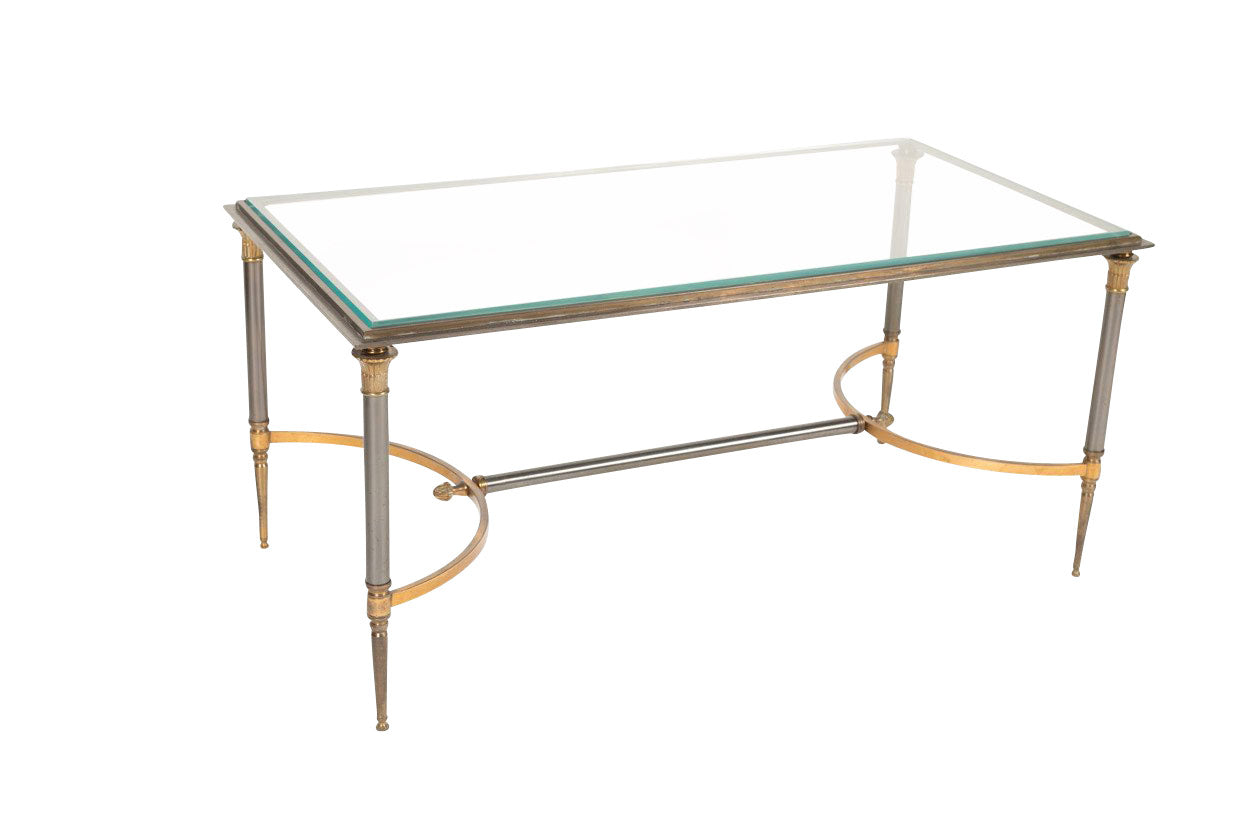 A Maison Charles Iron and Gilt Bronze Coffee table