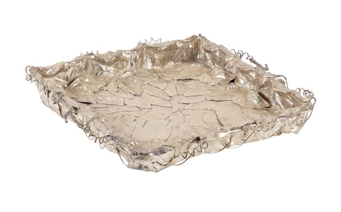Franco Lapini Italian Silver Plate Tray with Applied Leaves & Vines