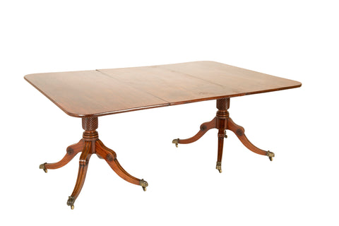 A Two Pedestal English Regency Mahogany Dining table
