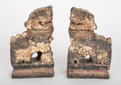 Pair of Northern Chinese Wood Carved Foo Dogs