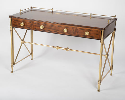Rosewood and Bronze Campaign Desk