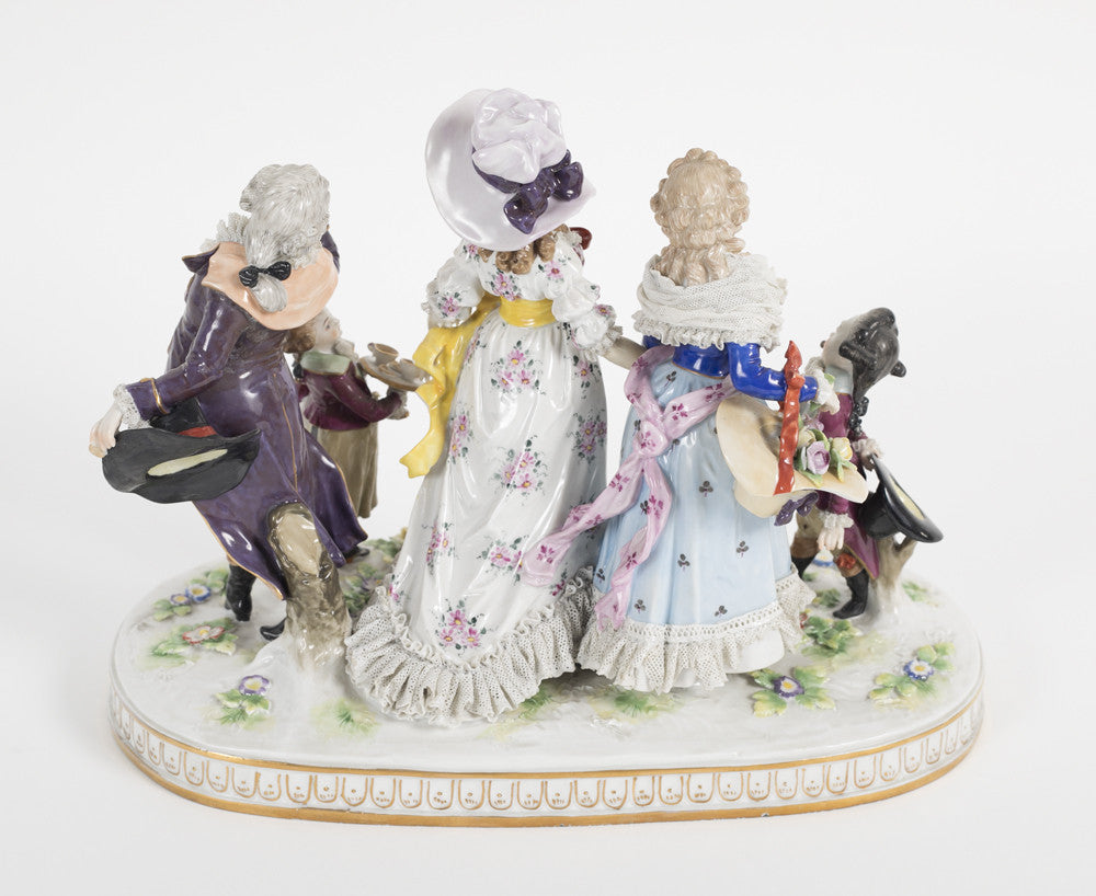 "A German Porcelain Grouping After ""La Promenade Publique"""
