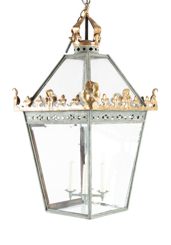 English Hall Lantern with Original Painted Metal
