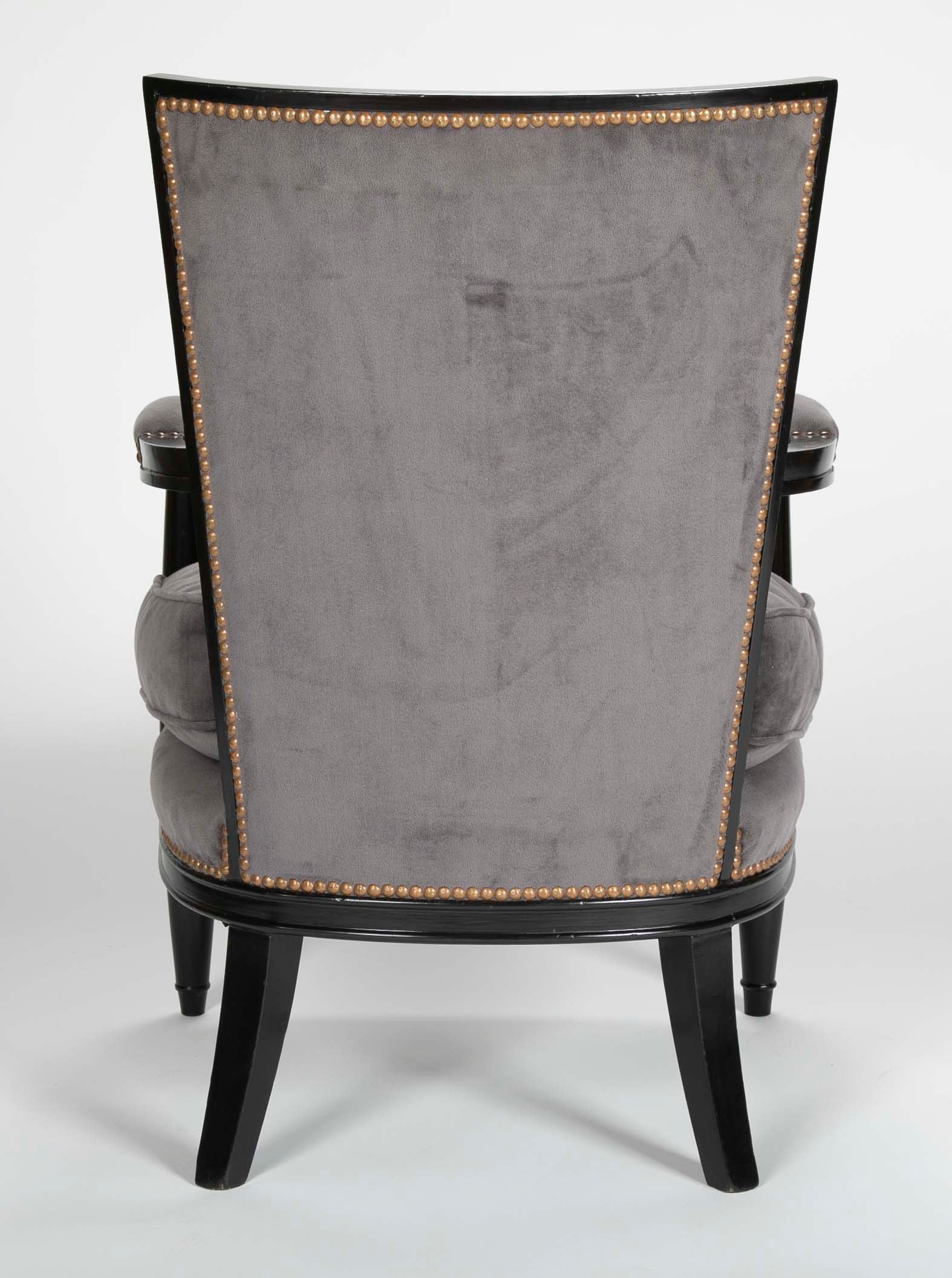 Pair of Ebonized Open Arm Chairs French Directoire in the Manner of Andre Arbus