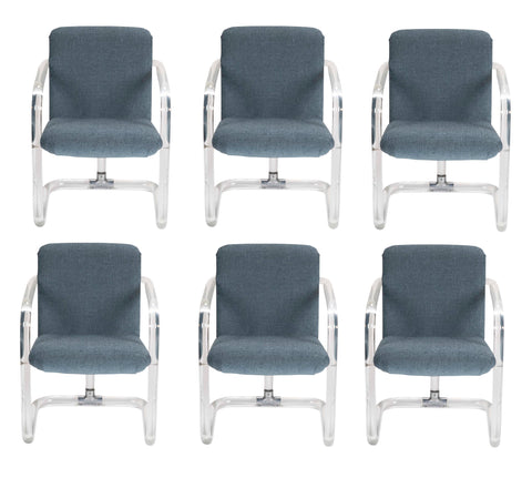 Set of Six Lucite Upholstered Armchairs by Lion in Frost