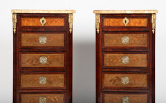 Pair of Louis XVI Style 5 Drawer Stands