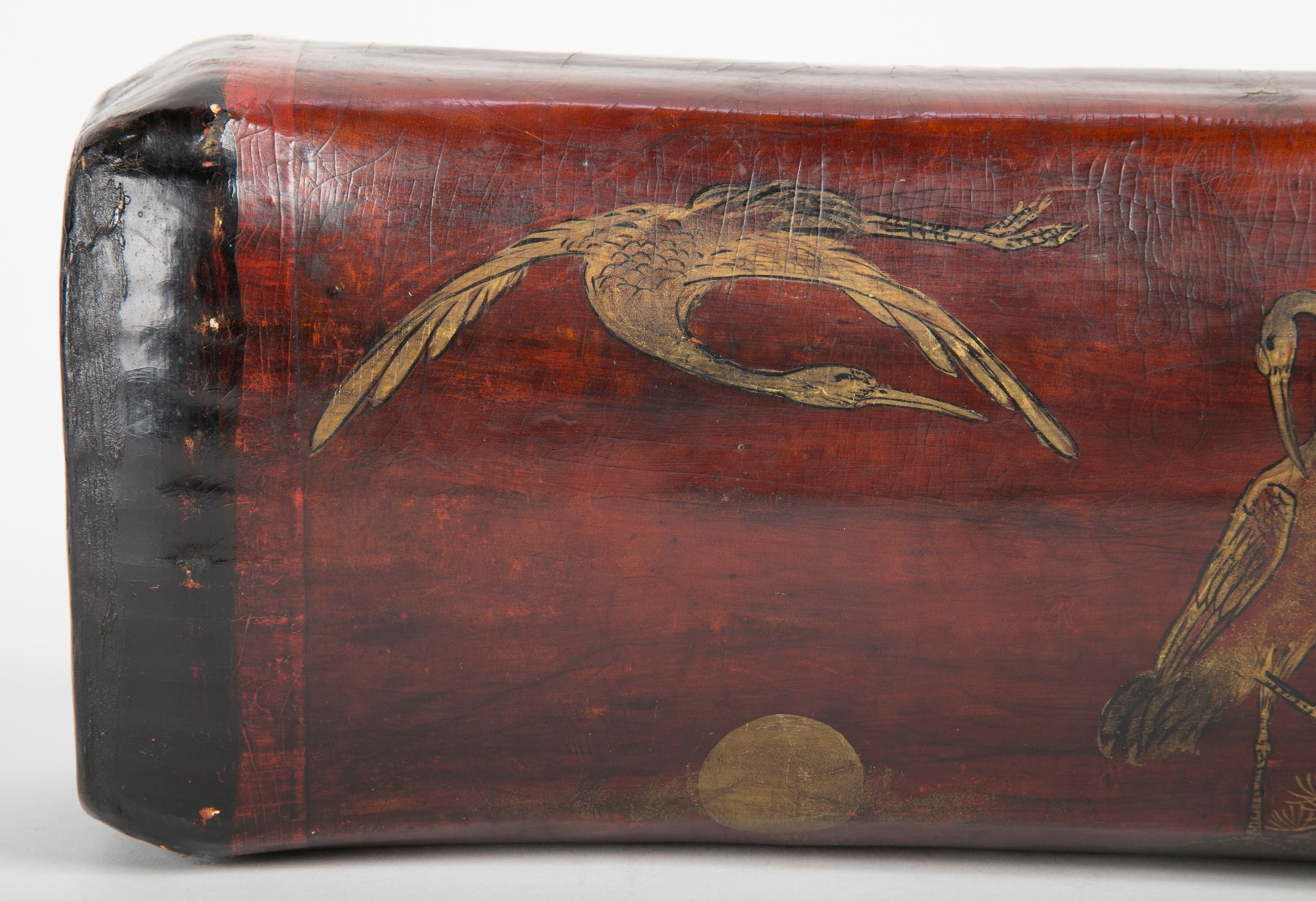 Chinese Leather Opium Pillow from the Craft House Luo Long Chang Signed by the Artist