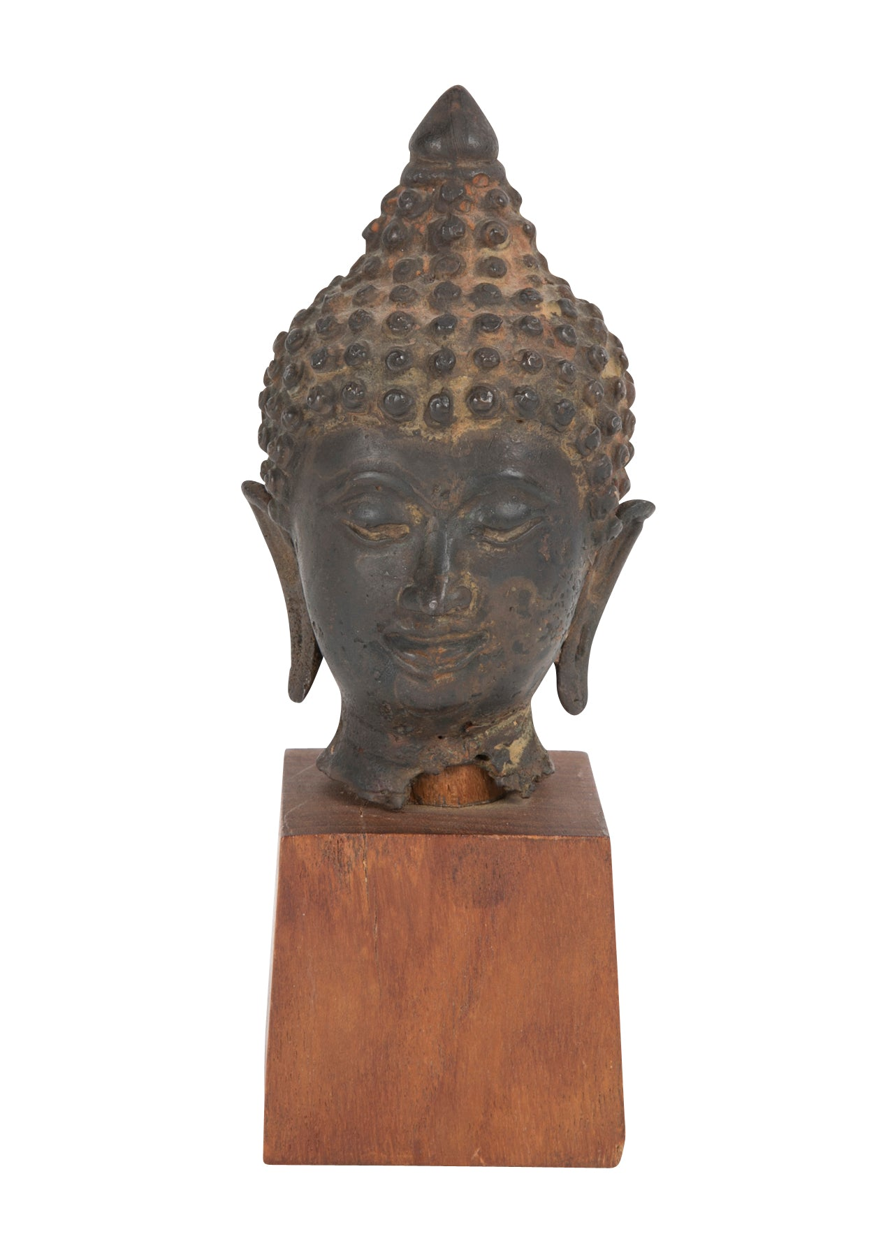 Bronze Buddha Head on Wood Stand
