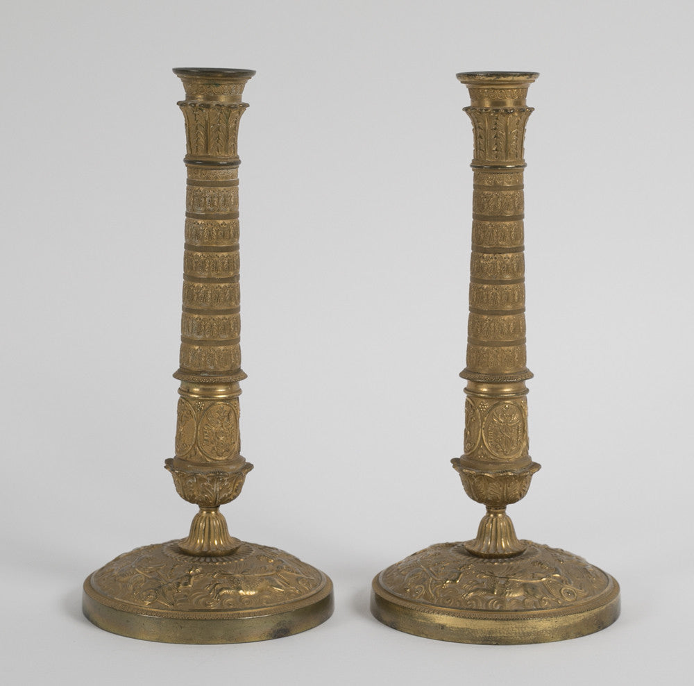 Magnificent Pair of D'Ore Bronze Empire Candlesticks