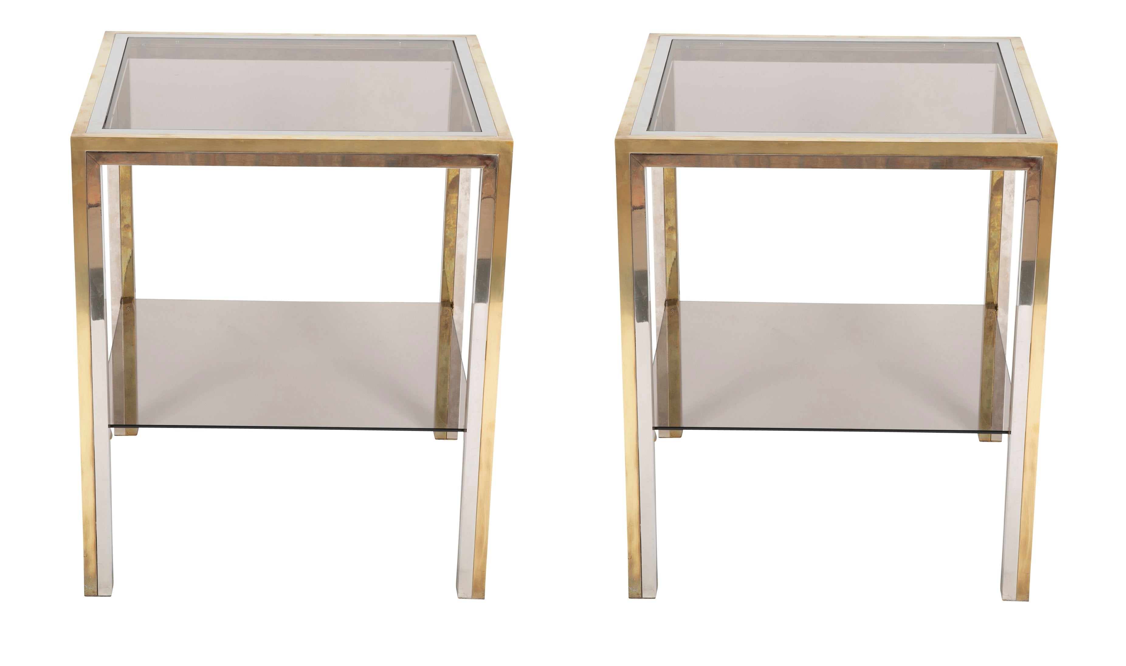 Pair Of Chrome And Brass Side Tables