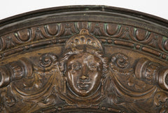 19th Century French Bronze Frame Possibly an Architectural Fragment with Mirror