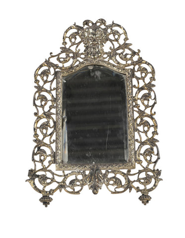 Italian Bacchus Masked Silvered Bronze Frame