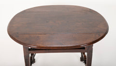 Spanish Baroque Walnut Drop Leaf Table with Wrought Iron Stretchers