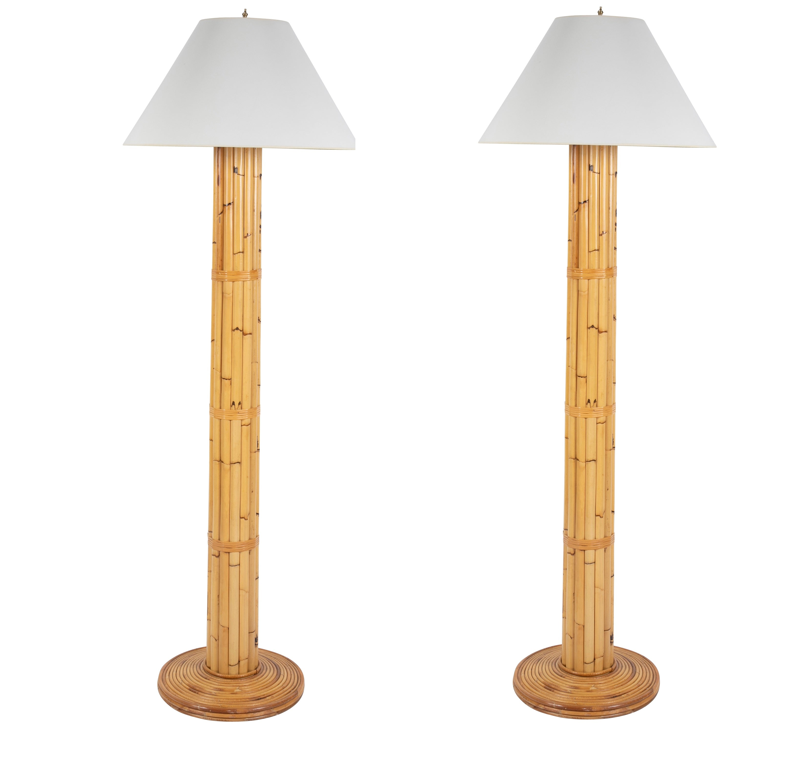 Pair of Bielecky Brothers Rattan Floor Lamps