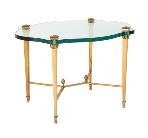 French Neo-Classical Style Gilt Bronze & Glass Table in the Manner of Guerin