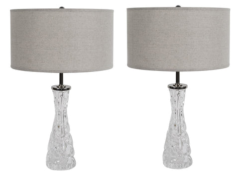 Mid-Century Textured Crystal Lamps by Orrefors