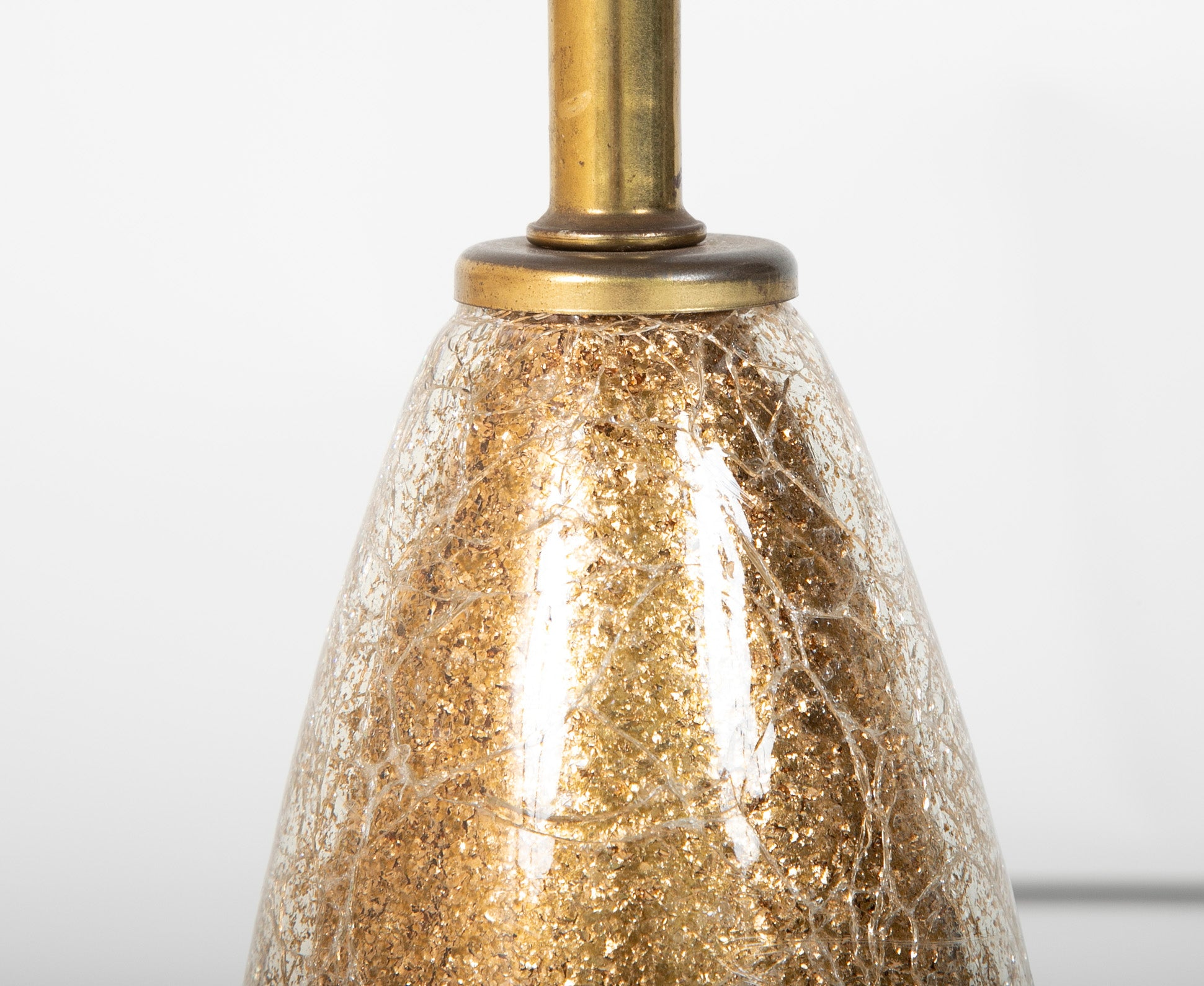 Mid-Century Gold Eglomise Crackle Glass Lamp